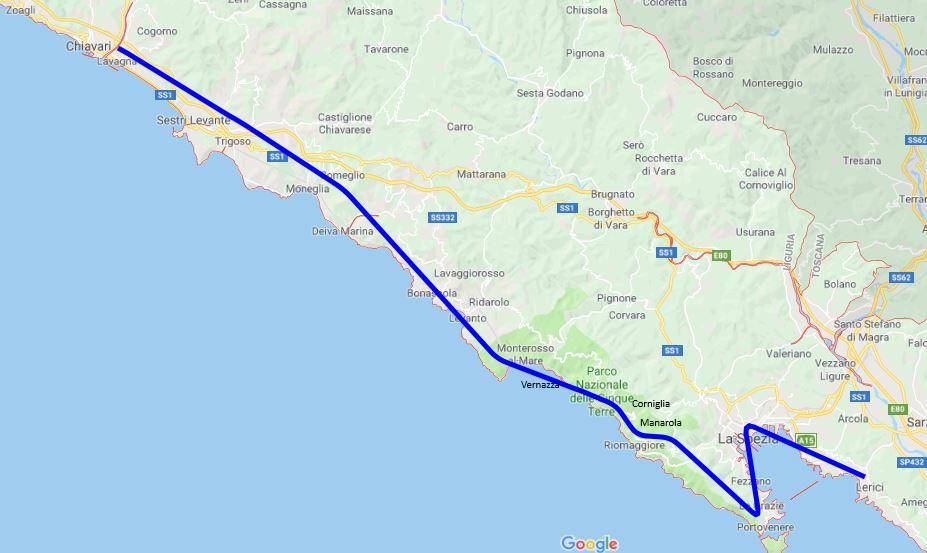 Cartina 5 Terre E Dintorni.Itin 1 2019